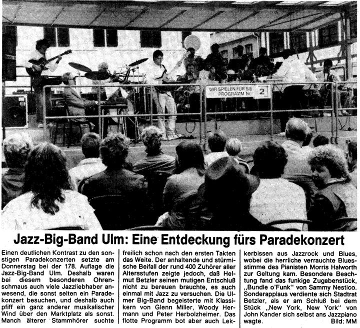 Jazz-Big-Band Ulm: Eine Entdeckung f�rs Paradekonzert, S�dwestpresse 8. Mai 1986